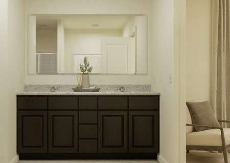 Rendering of the master bath focused on   the spacious double-sink vanity with brown cabinetry and a mirror. On one   side the entry to the water closet is visible and on the other is the doorway   leading to the master bedroom.