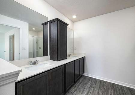 The spacious master bathroom has double sinks, large cabinet spaces and a step-in shower.