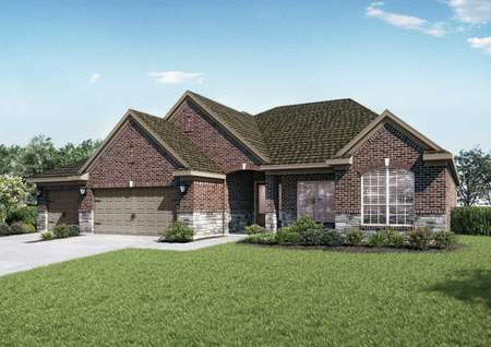 Multi-colored brick rendering of the Dempsey floor plan with open grass front yard.