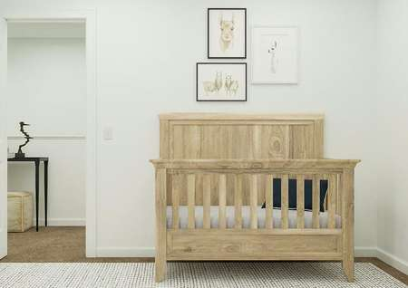 Rendering of a bedroom decorated as a   nursery. The image is focused on a wooden crib that has artwork of llamas   above it and is next to the door leading to the hallway.