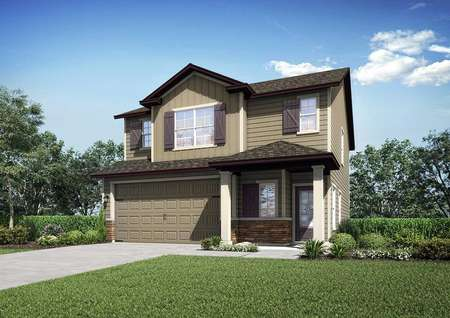Front view of the St. Johns floor plan renderings with lush green grass in the front yard.