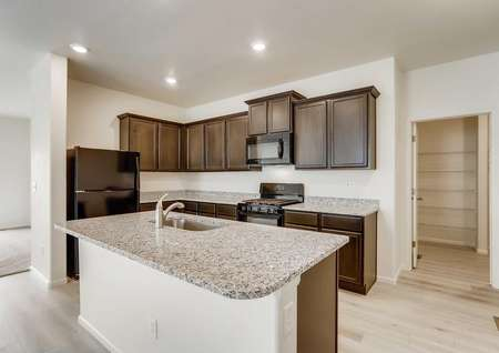 Princeton kitchen with granite counters, undermount sink food prep island, and recessed lights