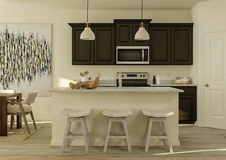 Rendering of the Pike's kitchen   showcasing an island with three stools, brown cabinetry, granite countertops   and stainless steel appliances.