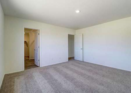 The master bedroom in the Guadalupe floor plan with a ceiling light fixture, carpet flooring and a walk-in closet.