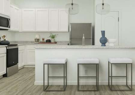 Rendering of kitchen area with barstool   seating, adjacent to living room.