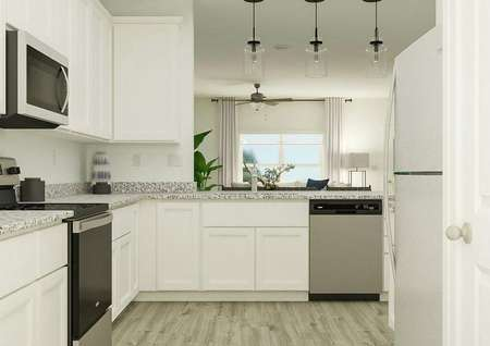 Rendering of the kitchen in the Wavery   showcasing the white cabinetry, granite counters, Whirlpool brand appliances   and gorgeous wood-style flooring.