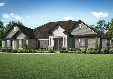 The Mantle plan is a gorgeous one-story home with siding and stone details.