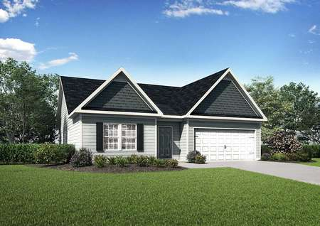 Allatoona house design front view with green grass, white garage door for two cars, and dark on light siding