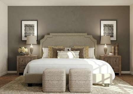 Rendering of spacious master bedroom with   dark gray accent wall and carpet flooring. Decorated with large bed, two   nightstands and mirror.