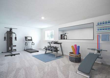 Scott fitness room completed with blue lifting bench, complete barbell weight set, and modern treadmill on the back wall