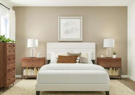 Rendering of bedroom with large bed, dual   side tables, brown accent wall and cabinet space to the side.