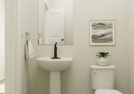Rendering of the   half-bath showing a pedestal sink with a mirror and the toilet, which has a   potted plant sitting on it and abstract artwork above it.