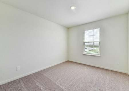 Rio bedroom with overhead light, white trim to walls, and soft brown carpet