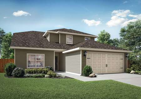 Cypress single-family home with two car garage door, green grass and plants in the front yard, and white trim on brown siding