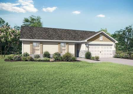 Aitkin single-family home rendering with green grass and landscaped yard, one living level, and two car garage door