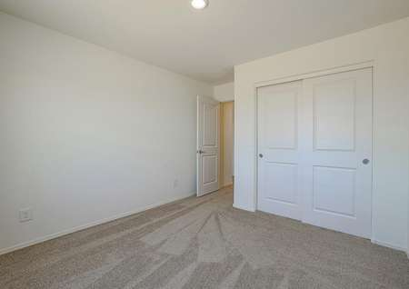 Downstairs bedroom with tan carpet and a closet with sliding doors.