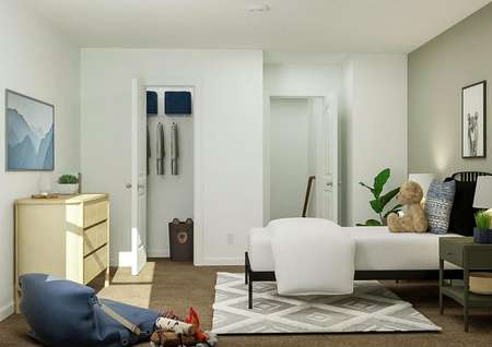 Rendering of a bedroom furnished with a   twin bed, two nightstands, dresser and a rug.