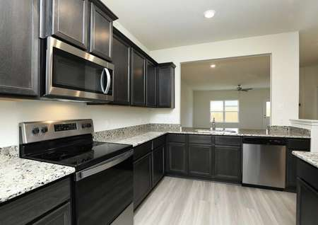Kitchen with polished granite counters, stainless oven, microwave, dishwasher, dark cabinets, light floors overlooks dining