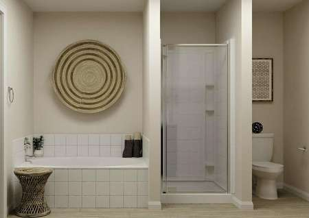 Rendering of the master bath showing the   shower, separate tub and toilet.