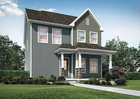 Artist rendering of 2-story Gloucester plan with gray siding and shake shingle detail, covered front porch, 6 windows, glass front door and stone detail on porch columns.