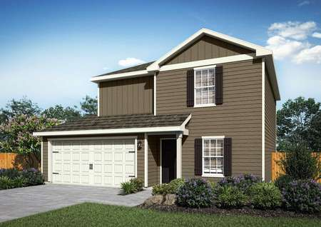 Canyon artist rendering with dark brown siding and white trim, green grass and bushes in the front yard, and two car garage door