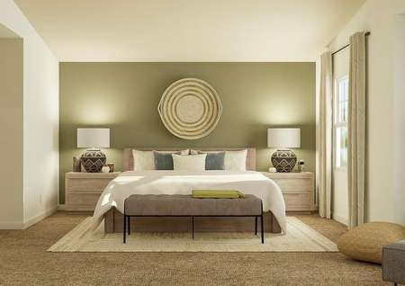Rendering of   spacious master bedroom with vaulted ceiling, window with tan curtains and   carpeted floor decorated with a large bed and two nightstands.