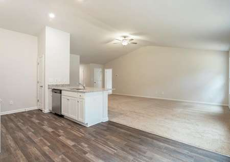 Kitchen with luxury vinyl flooring and stainless appliances overlooking the living room.