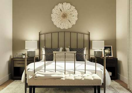 Rendering of a second bedroom decorated with a rod iron bed with a bench at the foot, two nightstands and a rug.