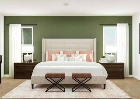 Rendering of the spacious master suite   showing a large bed centered between two windows. The room also has two large   nightstands and a dresser.