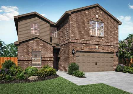 Beautiful Driftwood home rendered with brick and siding