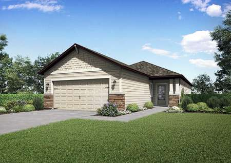 Side and front view of the Halifaxfloor plan rendering with a front yard that has lush green grass, plants and bushes.
