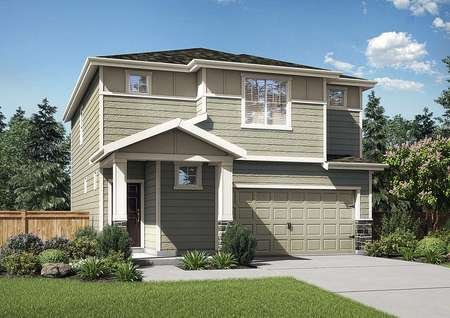 Hawthorn rendering of two story home with white trim, two car garage door, and landscaped front yard