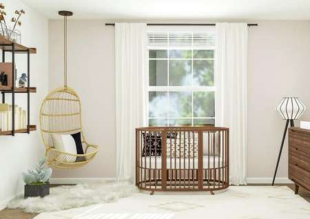 Rendering of nursery room with crib,   large window behind crib, hanging chair, and large storage space.
