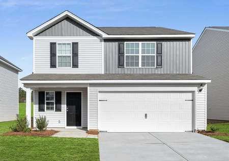 Camden new home plan with brown shutters, white garage door, and two-tone paint finish