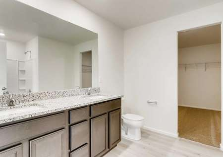 Harvard master bath with walk-in closet, two sinks, and brown vanity with granite finish