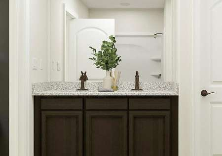 Rendering of the master bath focused on   the double-sink vanity, which has dark brown cabinetry and granite counters.
