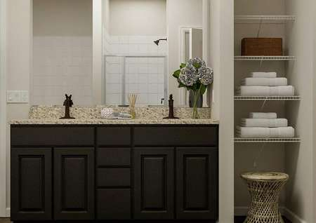 Rendering of the master bath focused on   the standing shower and separate tub. The toilet is visible behind a door.