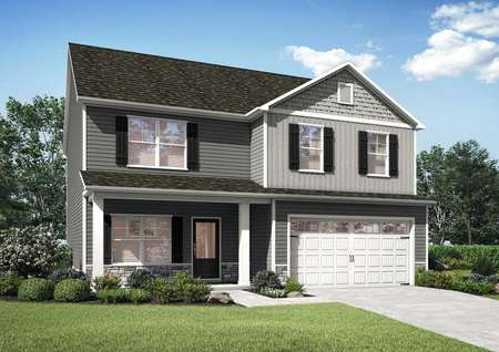 Hawthorn new house front with white garage door, two-tone paint work, and landscaped yard