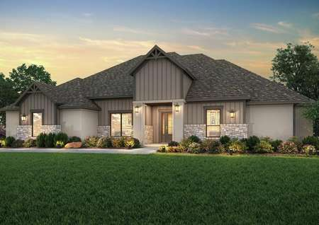 The Timberline dusk rendering with stucco, dark siding and tan stone detailing.