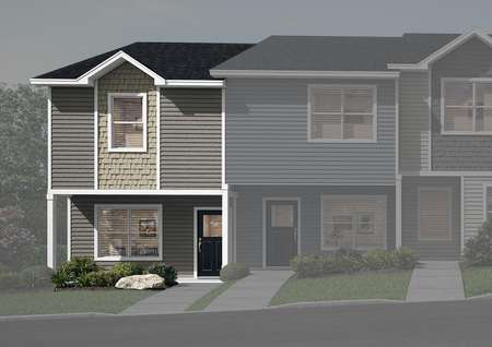Two-story townhome with gray and tan siding and a covered front porch.