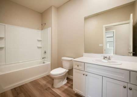 The secondary bath has a gorgeous vanity.
