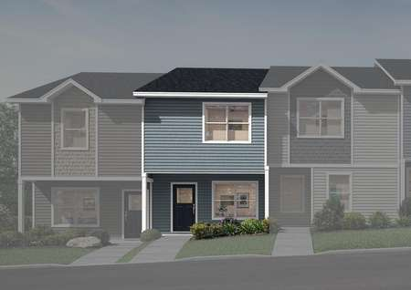 Stunning two-story townhome with blue siding and a covered front porch.
