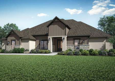 Timberline plan featuring stone accents, coach lights and gables.