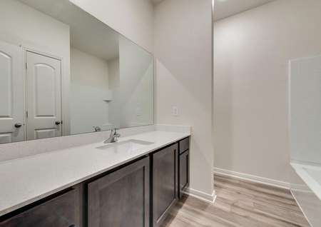 The secondary bath has a stunning vanity with great countertop space.