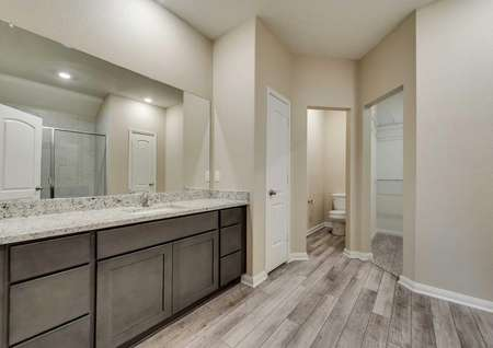 Ontario master bath with private toilet, large vanity space, and walk-in closet