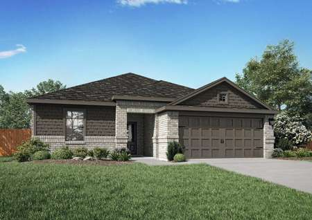 The St. Clair model home rendering with dark and light colored brick.