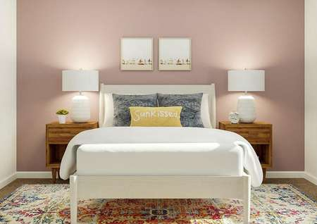 Rendering of a bedroom with a window and   carpeted flooring. One wall has been painted a light pink and the room is   furnished with a white bed, wooden nightstands and a colorful rug.