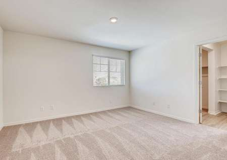 The carpeted master bedroom has its own walk-in closet.
