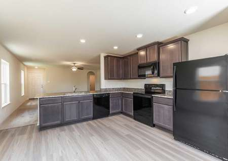 Pecan kitchen with black refrigerator and appliances, light color wood floor, and dark cabinetry