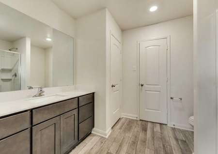 Rio Grande bathroom with can lights, large vanity, and wood finish flooring